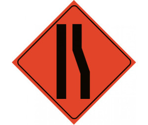 "Roll-up Traffic Sign, Reflective, Merge Left Lane, Nylon, 48"" x 48"""