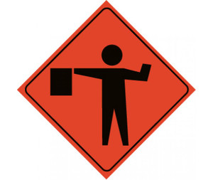 """Roll-up Traffic Sign, Reflective, Flagger Ahead ICON, Nylon, 48"""" x 48"""""""