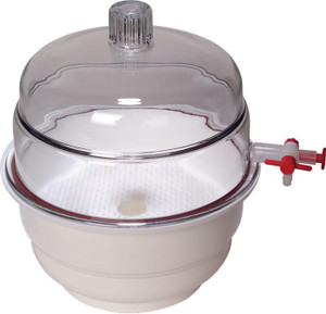 "Desiccator, Vacuum, White Base, PP & PC, 12"", Each"