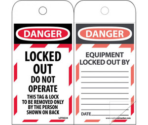 "Danger Locked Out Do Not Operate Tag Polytag, 6"" X 3"""
