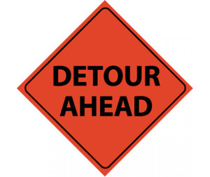 "Reflective Roll-up Detour Ahead Sign ,48"" X 48"""