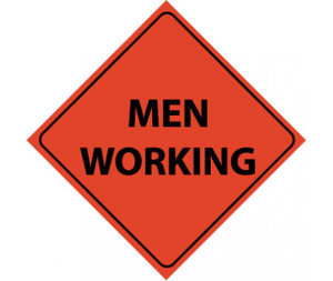 """Roll-up Traffic Sign, Reflective, Men Working, Nylon, 48"""" x 48"""""""