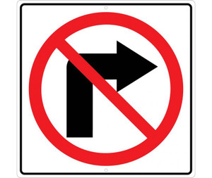 "No Right Turn Graphic Traffic Sign Heavy Duty High Intensity Reflective Aluminum, 24"" X 24"""