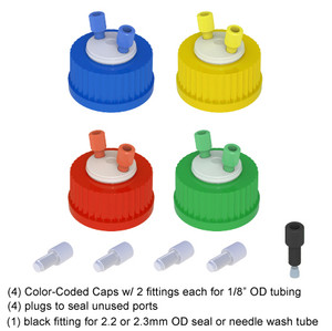 Color Coded HPLC Solvent Delivery Caps, GL45, 4-pack
