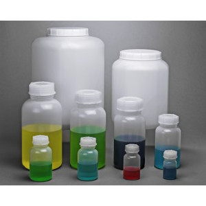 2 Liter Lab Bottle, LDPE, Wide Mouth Rounds, case/3