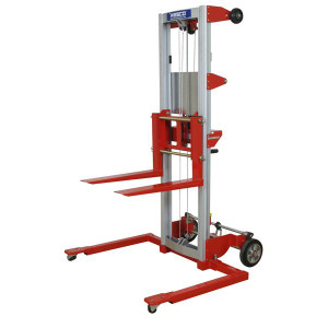 """Hand Winch Lifter, Adjustable Straddle, Fork size: 4""""W x 22.5""""L x 1.75""""H, 29""""W x 79""""H x 43""""D"""