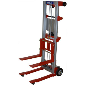 "Hand Winch Lifter, Fixed Base with crank handle locks to secure carriage 24""W x 68""H x 35""D"