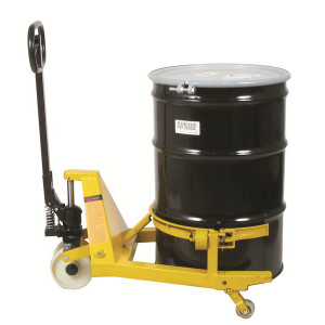 "Pallet Truck Drum Lifter with 8"" x 2"" nylon steering wheels, 28.5""W x 47.5""H x 42""D"