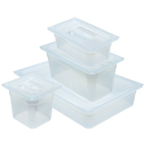 Dynalon Pan, Translucent Tote, Lid, Polypropylene, 2.4 Qt, case/6