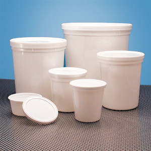 Dynalon 454425 Containers, Disposable with Cover, White 32oz, case/100