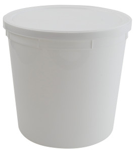 Containers, Disposable with Cover, White 165oz, case/25