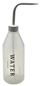 "Wash Bottle, 500mL, Labeled ""Water"", White, case/5"