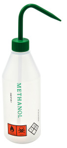 "Wash Bottle, 500mL, Labeled ""Methanol"", Green, case/5"