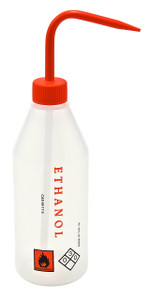 "Wash Bottle, 500mL, Labeled ""Ethanol"", Orange, case/5"