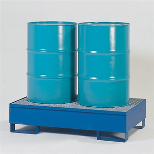 Denios 2-Drum Containment Spill Pallet, Painted Steel w/ Grating