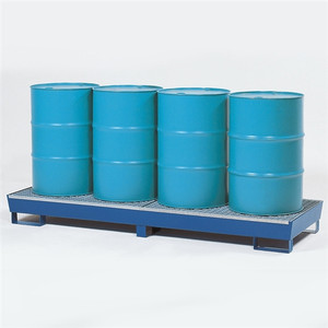 Denios 4-Drum Inline Painted Steel Spill Containment Pallet w/Grating