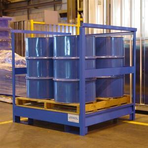 Denios 4-Drum Painted Steel Stackable Transport Pallet w/Side Rails, Painted Steel