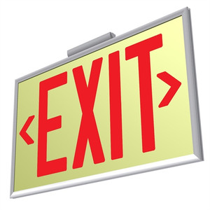 EcoGlo UL 924 Glow in the Dark EXIT Sign, One-Sided, Framed, 50ft