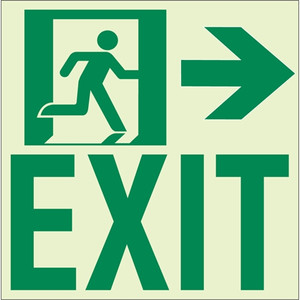 "EcoGlo Glow in the Dark ""Exit to the Right"" Sign, 1-Sided, Unframed RAE2122"