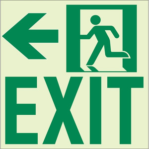 "EcoGlo Glow in the Dark ""Exit to the Left"" Sign, 1-Sided, Unframed RBE2122"