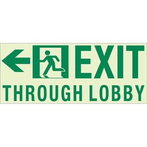 EcoGlo Glow in the Dark Custom Exit sign, 1-Sided, Unframed