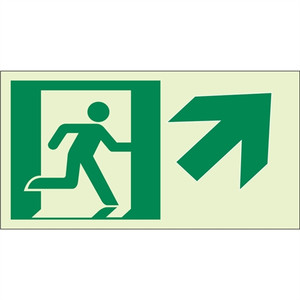 "EcoGlo Glow in the Dark ""Exit Up, to the Right"" Sign, 1-Sided, Unframed"