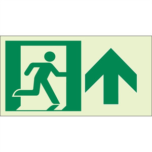 "EcoGlo Glow in the Dark ""Exit Straight Ahead, Up"" Sign, 1-Sided, Unframed"