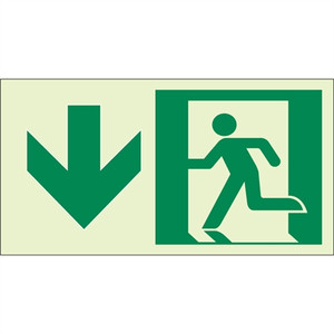 "EcoGlo Glow in the Dark ""Exit Straight Ahead, Down"" Sign, 1-Sided, Unframed"