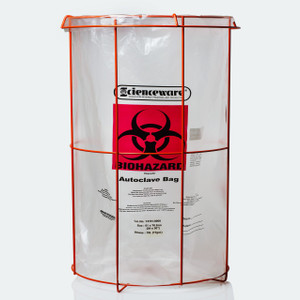 "Biohazard Bag Stand with (100) 24 x 30"" Autoclavable Bags, Poxygrid"