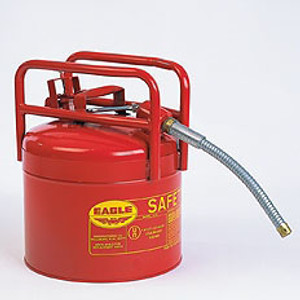 """Type II Safety Can, DOT Approved Red Galvanized Steel, 5/8"""" Flexible Hose"""