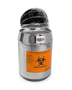 Bench Top Biohazard Waste Disposal Can Stainless Steel, Motion Sensor Lid, case/12
