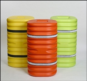 "8"" Column Protector, Lime with Reflective Bands"