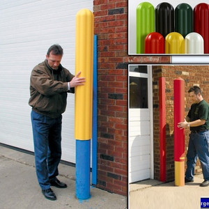 "Eagle 1730-72 Bollard Covers, 6"" x 72"" Bumper Post Sleeve, Ribbed 72"" Extra Long Yellow"