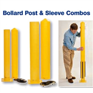 "Eagle 1744PS Combo Steel Bollard Post and 4"" Smooth Post Sleeve, 4.5"" x 42"" Yellow"