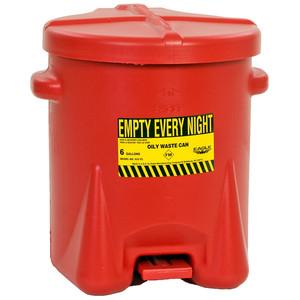 Eagle 6 gal Eagle PE Oily Waste Can, Foot Lever, Choose Color