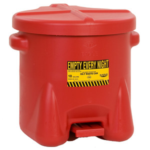 Eagle 935-FL 10 gal Poly Oily Waste Can, Foot Lever, Choose Color