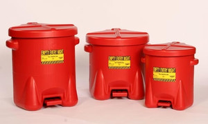 Eagle 935-FL 10 gal Poly Oily Waste Can, Foot Lever, Red or Yellow