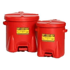 Eagle 937-FL 14 gal EAGLE PE Oily Waste Can, Foot Lever, Red or Yellow