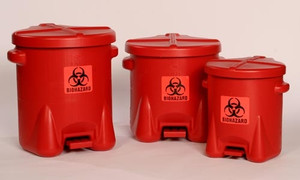 Eagle Biohazard Polyethylene Disposal Can, 6 Gallon, Red