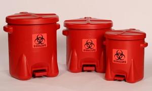 Eagle Biohazard Polyethylene Disposal Can,10 Gallon, Red