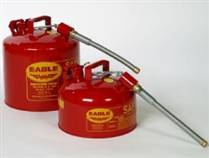 """Eagle U2-26-S Type II Safety Can, 2 gallon EAGLE Red with 7/8"""" O.D. Flexible Spout"""