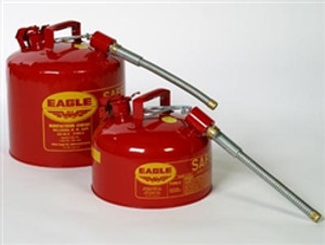 """Eagle U2-26-S x 5 Type II Safety Can, 2 gallon EAGLE Red with 5/8"""" O.D. Flexible Spout"""