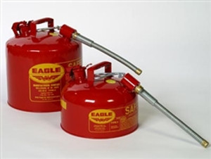 """Eagle U2-51-S Type II Safety Can, 5 gallon EAGLE Red with 7/8"""" O.D. Flexible Spout"""