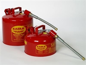 """Eagle U2-51-S x 5 Type II Safety Can, 5 gallon EAGLE Red with 5/8"""" O.D. Flexible Spout"""