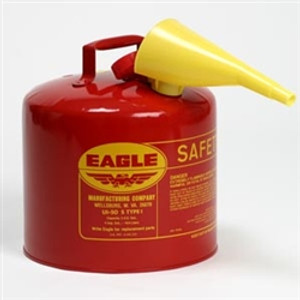 Eagle UI-50-FS Type I Safety Can, 5 Gallon Eagle Metal With PE Funnel