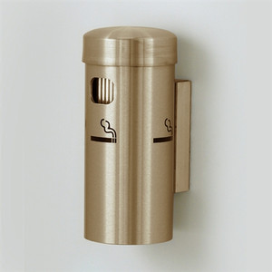 "Deluxe Cigarette Smokers Post, 3.5"" x 8"" Wall Mount, Satin Brass"