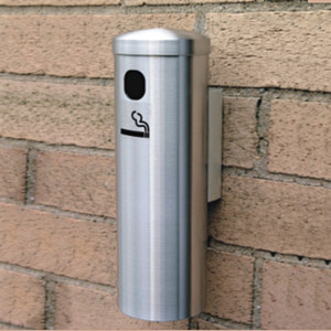 "Deluxe Cigarette Smokers Post, 3.5"" x 24"" Wall Mount, Satin Aluminum"