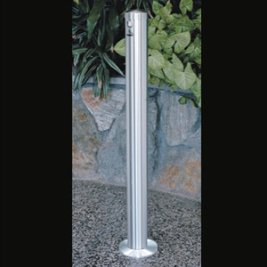 """Deluxe Cigarette Smokers Post, 3.5"""" x 42"""" In-Ground, Satin Aluminum"""