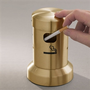 "Deluxe Cigarette Smokers Post, 3.5"" x 8"" Table Top, Satin Brass"