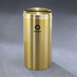 Recycling Bin, RecyclePro Waste Receptacle for Paper, 16 gal, Satin Brass